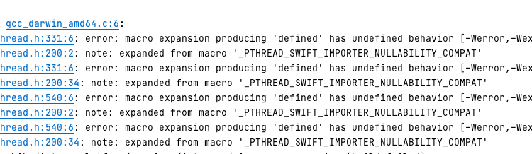 Golang test error: macro expansion producing 'defined' has undefined behavior [-Werror,-Wexpansion-to-defined]
